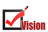 Check mark with vision word