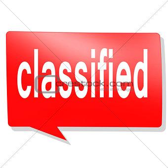 Classified word on red speech bubble