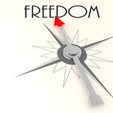 Compass with freedom value word