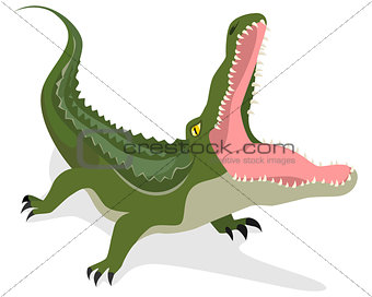 Green crocodile attacks