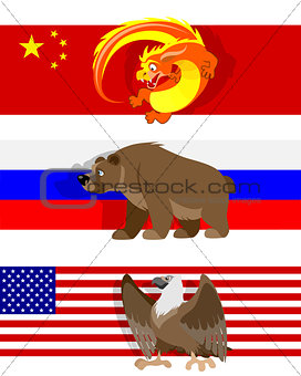 Three different flags