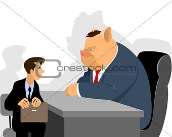 Businessman at reception official
