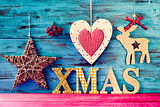 rustic christmas ornaments and text xmas