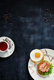 Tea and breakfast on a blackboard