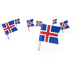 Square pins with flag of iceland
