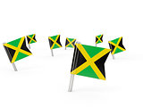 Square pins with flag of jamaica
