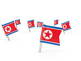 Square pins with flag of korea north