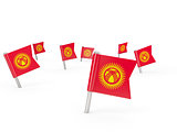 Square pins with flag of kyrgyzstan