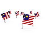 Square pins with flag of malaysia