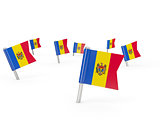 Square pins with flag of moldova