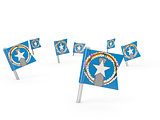 Square pins with flag of northern mariana islands