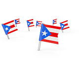 Square pins with flag of puerto rico