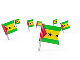 Square pins with flag of sao tome and principe