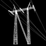 Silhouette of high voltage power lines. Vector  illustratio