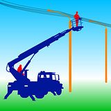 Electrician, making repairs at a power pole. Vector illustration