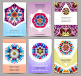 Set of Cards, Flyer, Brochure Design Templates, Invitation. Geometric Triangular Abstract Modern Polygon Backgrounds. Vector, EPS10.