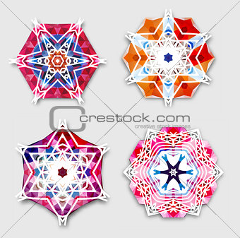 Abstract colorful snowflakes with 3D effect, logo icons, winter concept. Modern geometric design. Vector illustration, eps 10.