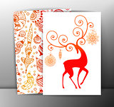 Christmas cards or backgrounds with deer and decorations. Vector, EPS10.