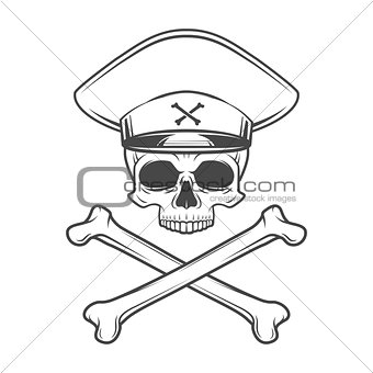 Skull with general hat and cross bones. Dead crazy tyrant logo concept. Vector military t-shirt illustration.