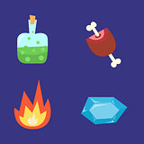 Vector illustration of computer game fantasy world icon set