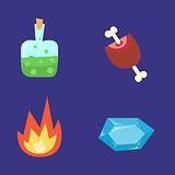 Vector illustration of computer game fantasy world icon set