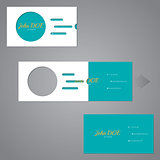 Simplistic two piece business card with circle and lines