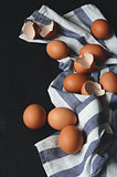 Chicken eggs on the table