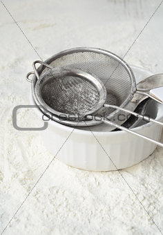 Kitchen utensils and wheat flour
