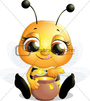 beautiful bee that eats honey