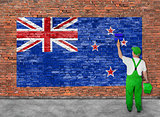 House painter paints flag of New Zeland