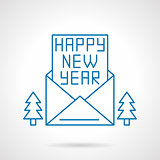 Happy New Year greetings thin line vector icon