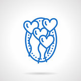 Romantic balloons vector icon blue line style