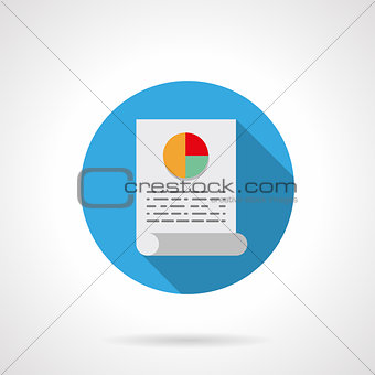Analytical article round flat color vector icon