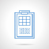 Clipboard with checklist blue line vector icon