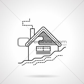 Flat black line house in snow vector icon