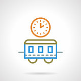 Simple color line train time vector icon