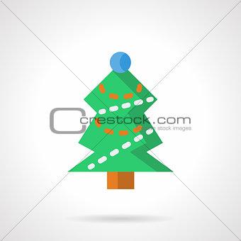 Green Xmas tree flat color vector icon