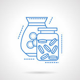 Glass jars with coins blue line vector icon