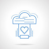 Cloud services blue flat line vector icon
