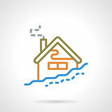 Simple color line winter house vector icon