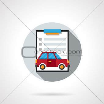 Car insurance contract flat round vector icon