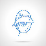 Balloon dolphin blue flat line vector icon