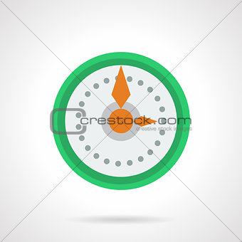 Green round wall clock flat color vector icon