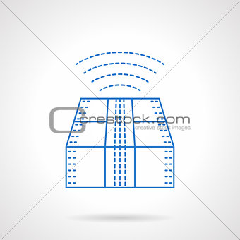 Cargo tracking blue flat line vector icon