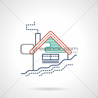 Ski resort colored flat line vector icon