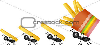 Ants carrying french fries