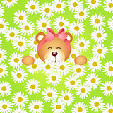 Teddy bear girl flower garden daisy background