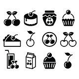 Cherry, fruit cake, jam icons set
