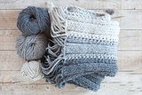 wool grey scarf and yarn