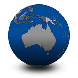 Australia on political globe illustration